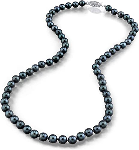 THE PEARL SOURCE 14K Gold 5.0-5.5mm AAA Quality Round Genuine Black Japanese Akoya Saltwater Cultured Pearl Necklace in 17″ Princess Length for Women