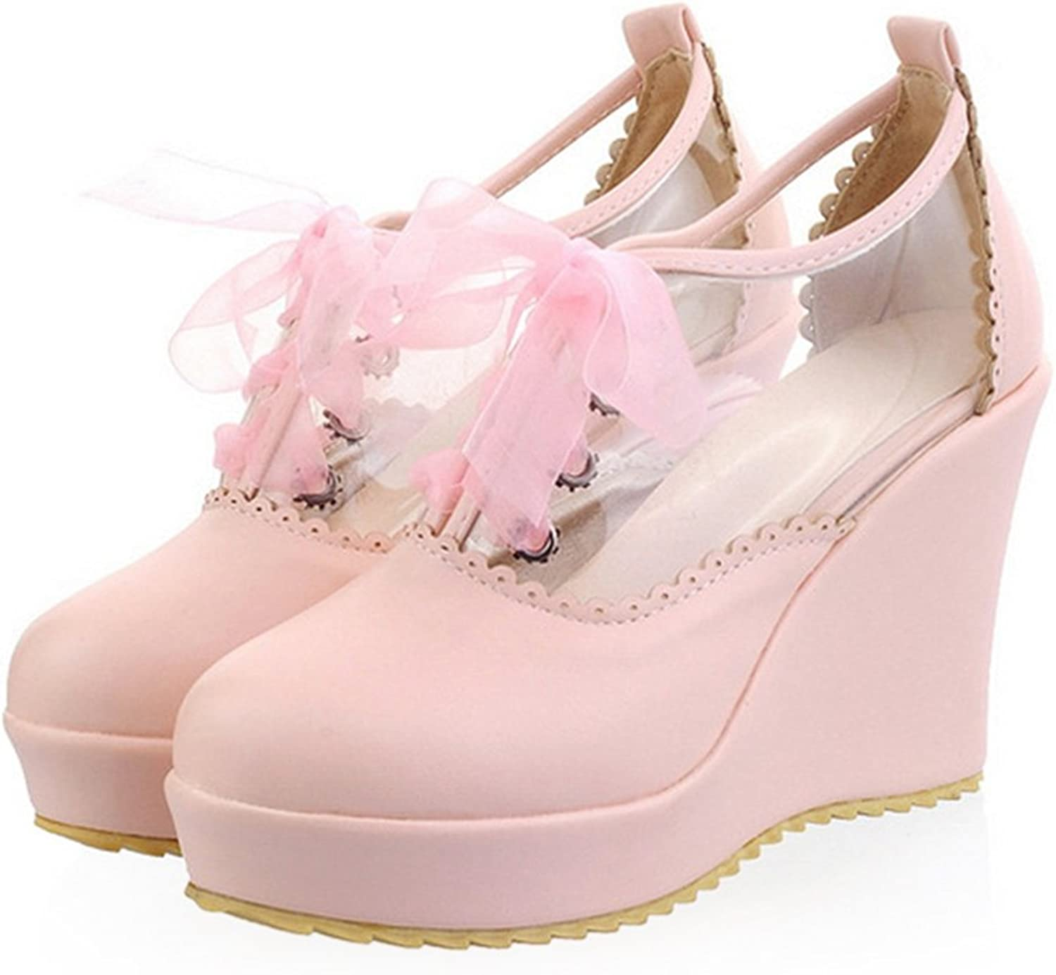 Preppy Style Candy color Lace-up High Platform Thick Sole Thin shoes Plus Size pink 39