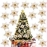 Gudotra 30pz Decorazione di Albero di Natale Fiorellini Fiori di Stella di Natale Color Crema Oro Fiore Artificiale