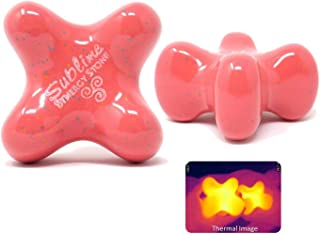 Sublime (Coral)(Single) Synergy Stone - Contoured Hot Stone Massage Tool - Relaxing and Therapeutic for Neck, Back, Legs, Feet - Ultra-Smooth for Massage on Skin with Oil or Over Clothes