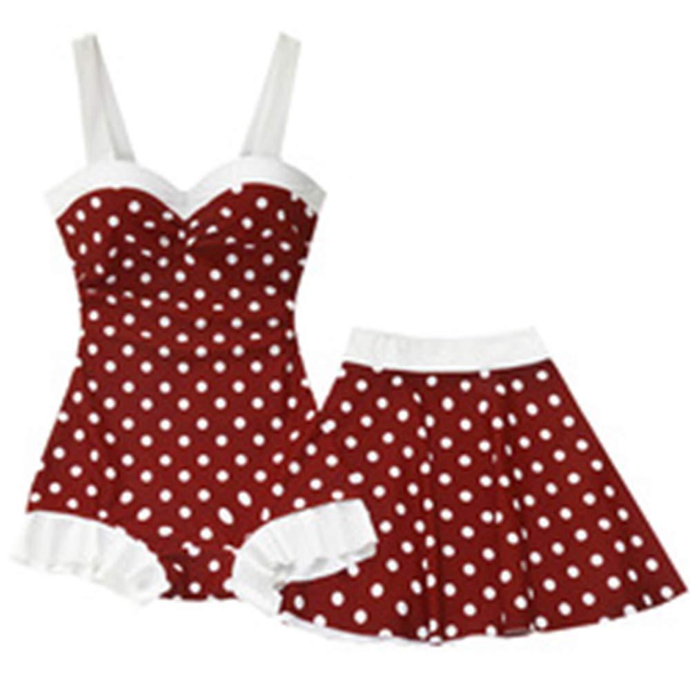 Weiwei Trajes de baño Mujer,Mujeres Retro Rojo Dot bañador Falda ...