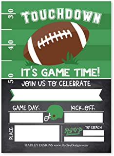 Hadley Designs 25 Colorful Football Birthday Party Invitations, Huddle Up MVP Boy Girl Team Game Day Theme Invite for All Star Kid Football Fan, Tailgate Baby Shower Sleepover Bday, Printable Template