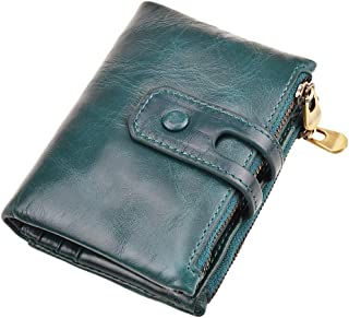 Dlife Vintage Cowhide RFID Blocking Wallet Genuine Leather Double Zipper Coin Pouch Bifold Short Wallet Handy Purse Bag (Vintage-Blue)