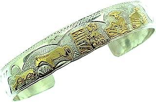By Artist Virgil Reeder Beautiful! Genuine Navajo Gold-filled on Sterling-silver Story Teller Women's Bracelet