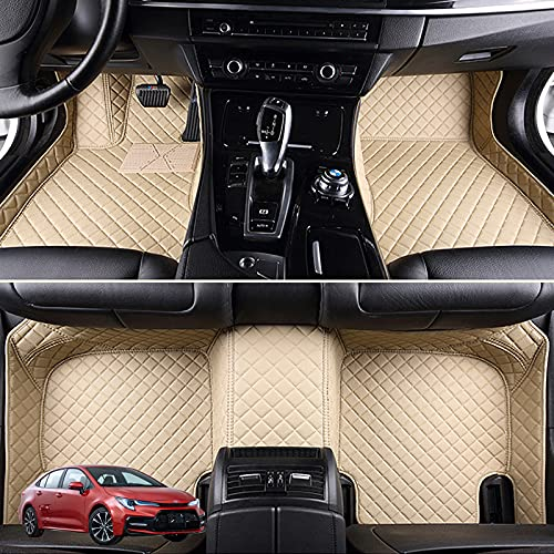 ZWMBAOR Tapetes Piso Automóvil,para Toyota Levin,Diseño Cerrado Lado Alto,Uso Cuero Microfibraecológico,7 Colores a Elegir,No Atasque El Deslizamiento Asiento,Seguridad Conducción,Beige-7Seat