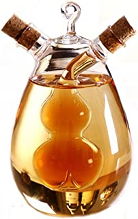 ELETON Kitchen Supplies Cruets Oil Vinegar 2 in 1,Glass Jar, Oil and Vinegar Dispenser