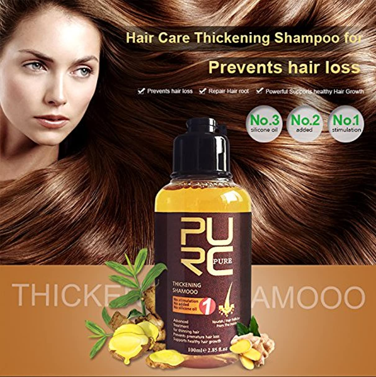 上下するわずらわしい従うPURC 100ML Herbal Ginseng Hair Care Essence Treatment For Hair Loss Help Hair Regrowth Serum Repair Hair root Thicken Hair Care Skin Care