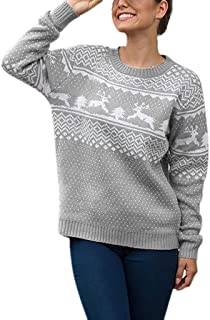 Women's Ugly Christmas Sweater Polka Dot Reindeer Crochet Pullover Sweatshirt Long Sleeve Stretchy Knitted Winter Warm Tops Thankgiving Xmas Dress up