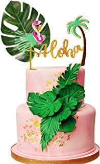 LaVenty 2 PCS Glitter Aloha Cake Topper Flamingo Cake Toppers Flamingo Happy Birthday Cake Decoration Tropical Hawaiian Luau Themed Party Supplies
