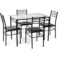 Gymax 5-Pcs Dining Set Glass Top Table & 4 Upholstered Chairs (Black)