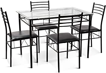 Gymax 5-Pcs Dining Set Glass Top Table & 4 Upholstered Chairs