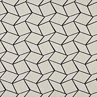 Designer Fabrics K0007G 54 in. Wide Midnight And Off White44; Geometric Boxes44; Designer Quality Upholstery Fabric