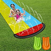 Lawn Water Slide Children Garden Racing Double Backyard Toys Outdoor Blow Up with 2 Surfboards and Crash Pad (Double)