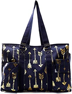 N. Gil All Purpose Organizer 18 Large Utility Tote Bag 3-2017 Spring New Pattern (Gold Arrow Navy)