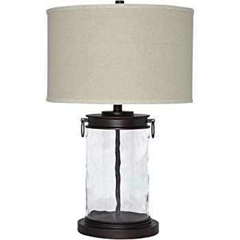 Signature Design by Ashley - Tailynn Glass Table Lamp - Smoky Glass - Black Accents - Clear