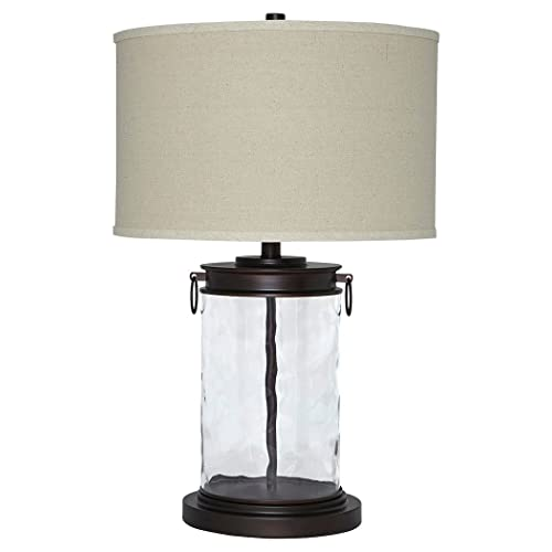 Ashley Furniture Signature Design   Tailynn Farmhouse Glass Table Lamp    Clear And Bronze Finish