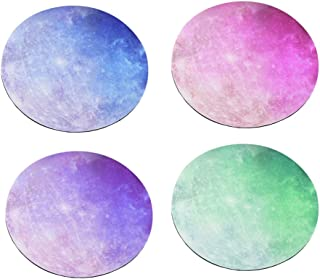 Uonlytech 4pcs Mouse Pad Fashion Stylish Unique Creative Rubber Mouse Pad Starry Sky Mouse Pad Computer Mouse Mat Round Mo...
