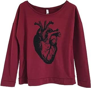 Women's Anatomical Heart Slouchy Lightweight Sweatshirt