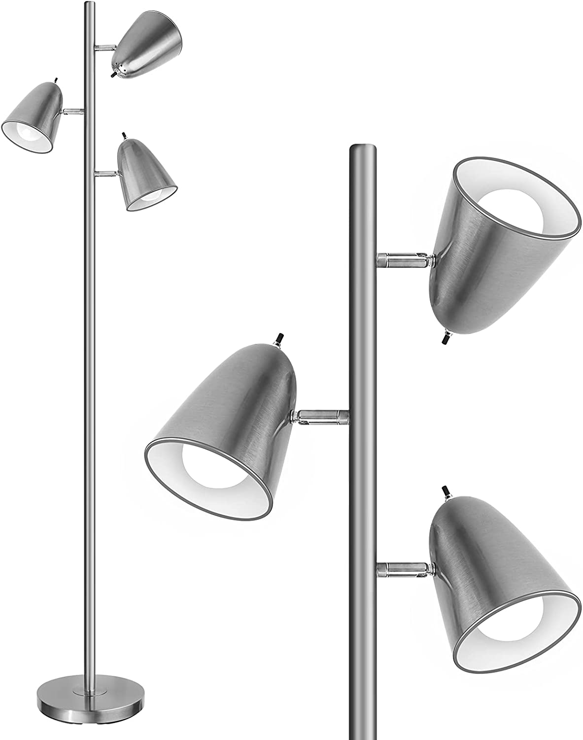 """Qimh sold out Industrial Floor Lamp with 3 Tall 64"""" Pole Surprise price Lam Bulbs Light"""