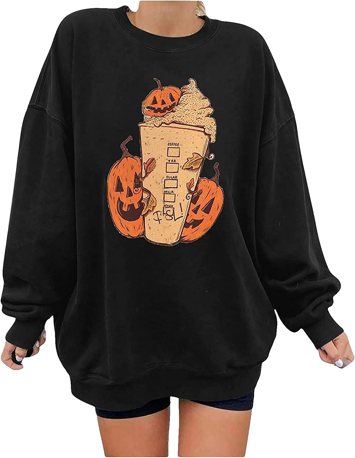 Oversized Halloween Cartoon Pumpkin Print Sweater Pullover for Woman Plus Size Loose O Neck Long Sleeve Blouse Tops