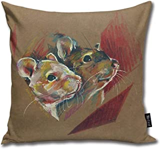 FamilyToy Throw Pillow Cover Square Rat Duo II Pillow Cover for Sofa Bedroom Car Decor 18 x 18 Inch 45 x 45 cm