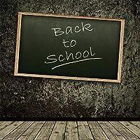Assanu 8×8FTビニール写真の背景ヴィンテージコンクリート壁小さな黒板学校のテーマに戻るオールドストライプウッドフロアシーンリアルな背景子供パーティーEvnetコースビデオスタジオ小道具