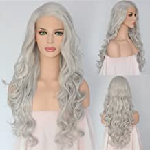 QD-Udreamy High Density Silver Grey Synthetic Lace Front Wigs Wavy Natural Looking Heat Resistant Hair Hand Tied Wigs for Women 24 Inches