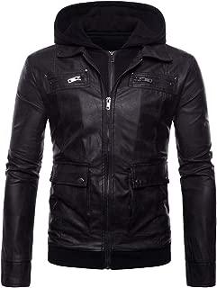 Men's Faux Leather Jacket Motorcycle Vintage Hooded Bomber Punk Zipper Jackets Multi-Pocket Slim Handsome Waterproof Coat