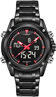 NAVIFORCE Brand Sport Full Steel Digital LED Army Military Wrist Watch, Red