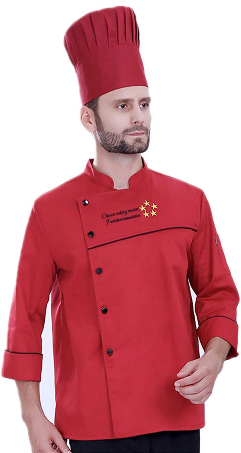 MRxcff Autumn&Winter Long-Sleeved Breathable Chef's Jacket Hotel Restaurant Kitchen Men Women Coat Uniform Work Clothes Top