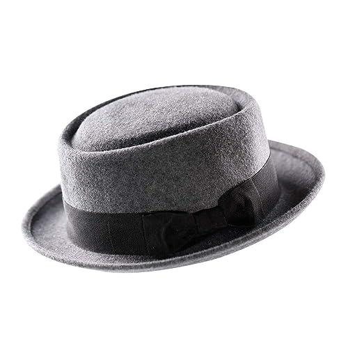 5eb513b3bca Pork Pie Hat-100% Wool Felt Men s Porkpie Hats Flat Mens Fedora Top Classic