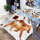 Juego de funda de edredón de cama de 3 piezas, silueta de oso con taza de café derramada con cita inspiradora decorativa, incluye 1 funda de edredón + 2 fundas de almohada, Sienna quemado negro blanco