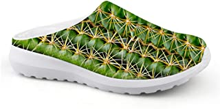 AXGM Men's Slippers Mesh Clogs Mules Beach Shoes Funny Cactus Plant Green Printed Comfortable Slipper Man Flat Shoes Low B...