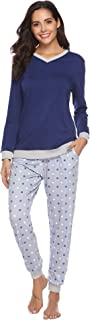Women's Cotton Long Sleeve Pajamas Set Sleepwear Dot Pattern Bottom Lounge Nightgowns