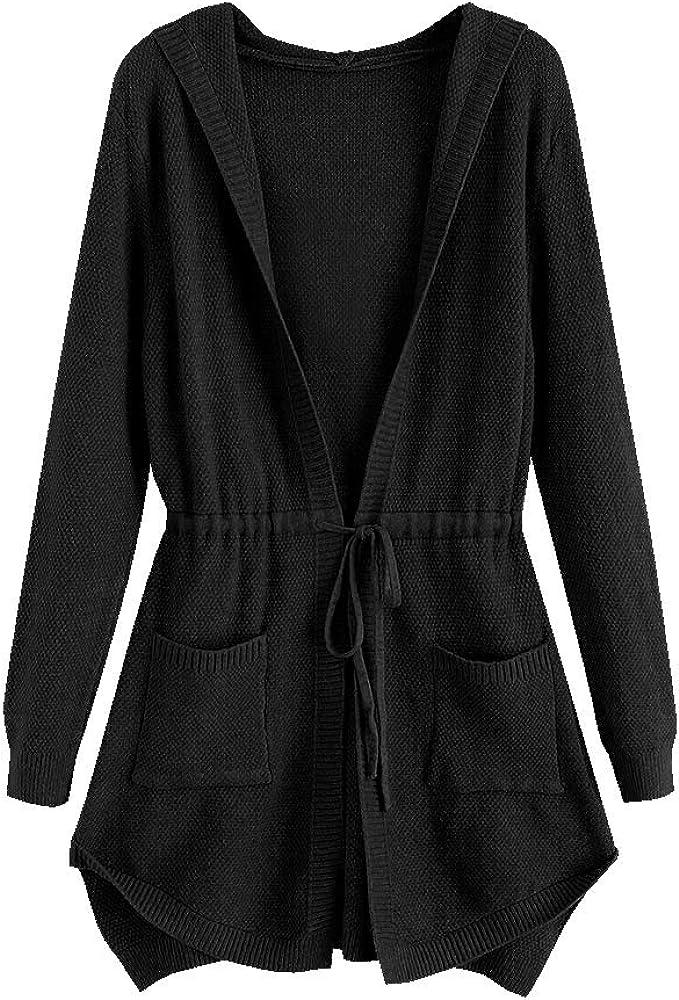 ZAFUL Cheap bargain Women's Rare Solid Hooded Drawstring Cardigan Pockets Longline
