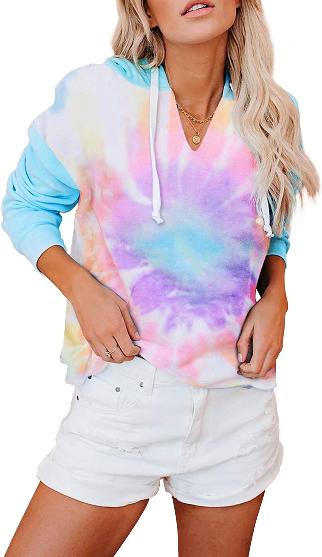 BLENCOT Women's Lightweight Tie Dye Hoodie Sweatshirts Casual Long Sleeve Pullover Hooded Tops