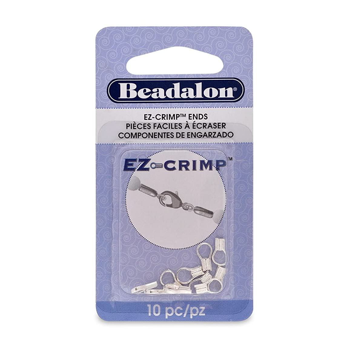 Artistic Wire Beadalon EZ-Crimp End Nickel Free Silver, Plated, 10-Piece