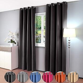 comprar comparacion Gräfenstayn cortina térmica y opaca Alana, cortina con ojales, aprox. 135x 245cm, tela, negro, 135...