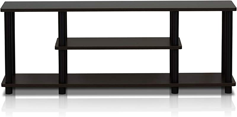 Furinno 12250R1WN BK Turn N Tube No Tools 3D 3 Tier Entertainment TV Stands Walnut