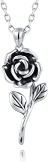 925 Sterling Silver Rose Flower Necklace Ring Jewelry Gift for women girls her