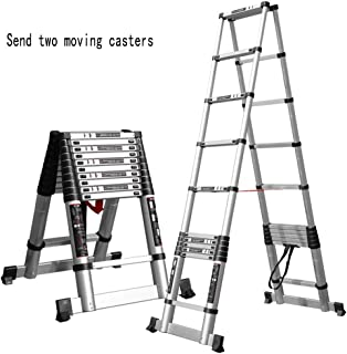 LJGMTZ Robust Aluminum Telescopic Ladder, Adjustable loft Pull-Out Ladder, Non-Slip, Lightweight Multi-Purpose Ladder, Carrying Capacity of 32 kg (Size: 3.8M (12.4FT))