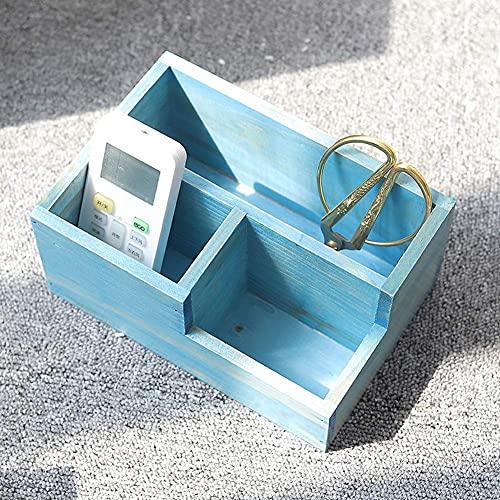 Guuisad Retro Hölzerne Desktop Aufbewahrungsbox Fernbedienung Süße Container Makeup Organizer Korb Kosmetik Schmuck Fall Home Office (Holzfarbe) (Color : Blue)
