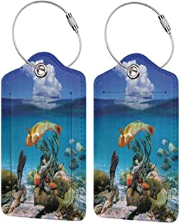 Multicolor luggage tag Nautical Sailing Ship Yacht in Open Sea and Cloudy Sky Adventure Travel Theme Photo Hanging on the suitcase Blue and White W2.7 x L4.6