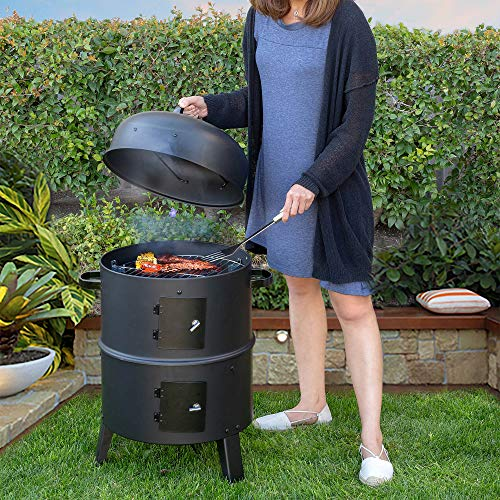Barton Vertical 16quot Charcoal BBQ Smoker Grill Steamer Large Capacity for Outdoor Cooking Grilling
