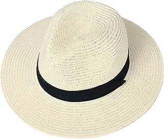 accsa Women Wide Brim Sun Straw Hat for Summer Beach Panama Fedora Hat UPF 50