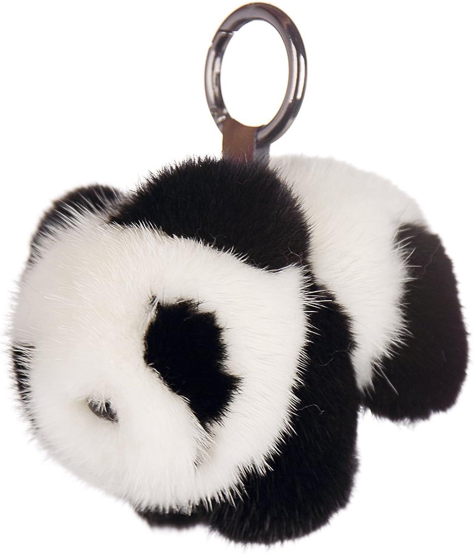 SPRINGWIND Women New Mink Black White Panda Pom Doll Ball Keychain Bag Purse