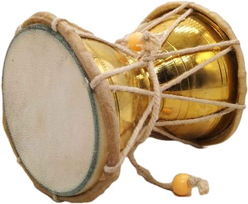 "India Meets India Handmade Kids 4"" Damroo Shiva Damru Musical Damaru Musical Instrument Best For Gifting Made By Awar..."