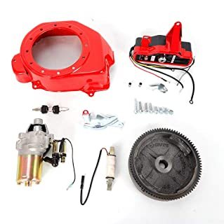 ONEPACK Electric Start Kit FlyWheel with Ring Gear Starter Key Switch Charging Coil for Honda GX160 5.5HP GX200 6.5HP