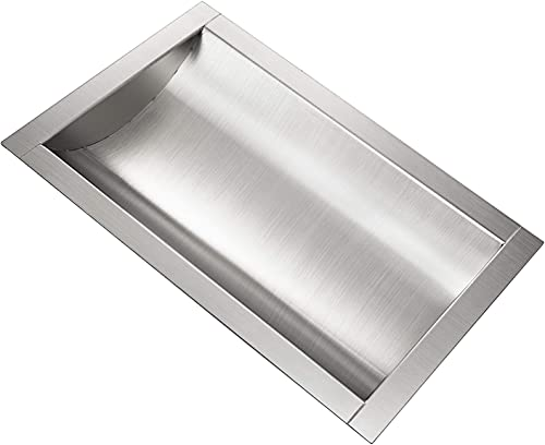 """lowest Mophorn 304 Stainless Steel lowest Drop-in Deal Tray 14"""" Deep x 10"""" Wide x 2"""" High Brushed Finish for Cash popular Register Window outlet sale"""