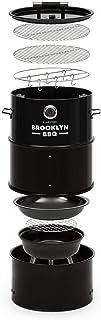 KLARSTEIN Brooklyn-BBQ - Bidón 4 en 1, Parrilla, ahumador, cocinado Fuego Lento y brasero, Ø 42 cm, 3 Patas, Acero, Termómetro, Estante ahumar, Negro